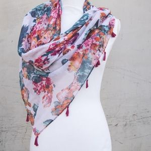 Lulus | 100% Polyester Floral Scarf with Tassels